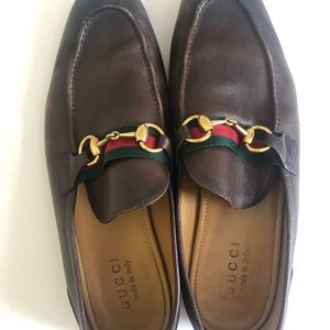 Gucci Men's leather Horsebit loafer with Web 9.5US